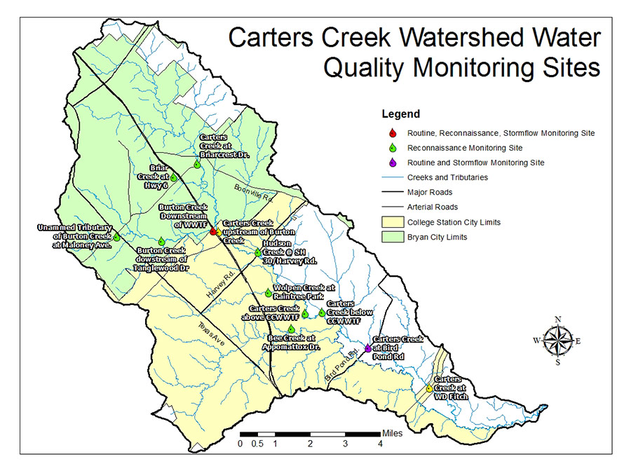 MapsData Carters Creek Watershed Water Quality - College station texas map